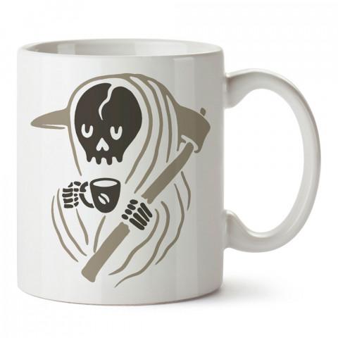 Kahve İçen Şirin Azrail tasarım baskılı kupa bardak (mug bardak). Kahve bağımlılarına özel hediyeler. Kahve bağımlısına hediye. Kahve tasarım hediye kupa bardak.