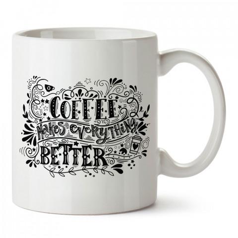Tipografi Kahve tasarım baskılı kupa bardak (mug bardak). Kahve bağımlılarına özel hediyeler. Kahve bağımlısına hediye. Kahve tasarım hediye kupa bardak.