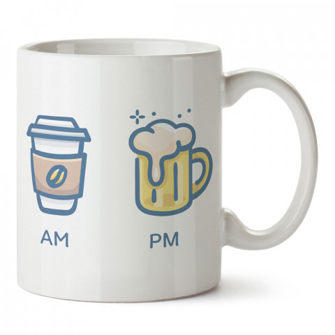 Sabah Kahve Akşam Bira tasarım baskılı kupa bardak (mug bardak). Kahve bağımlılarına özel hediyeler. Bira sevenlere hediye. Bİra tasarım hediye kupa bardak.