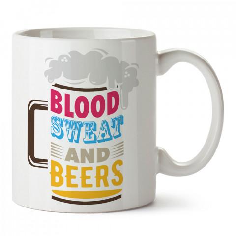 Blood Sweat And Beers tasarım baskılı kupa bardak (mug bardak). Bira severlere özel hediyeler. Bira sevenlere hediye. Bira tasarım hediye kupa bardak.