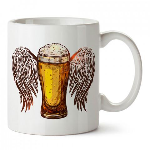 Melek Kanatlı Bira Bardağı tasarım baskılı kupa bardak (mug bardak). Bira severlere özel hediyeler. Bira sevenlere hediye. Bira tasarım hediye kupa bardak.