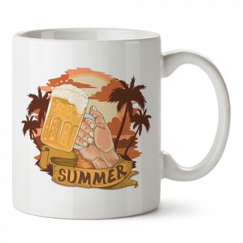 Yaz Birası tasarım baskılı kupa bardak (mug bardak). Bira severlere özel hediyeler. Bira sevenlere hediye. Bira tasarım hediye kupa bardak.