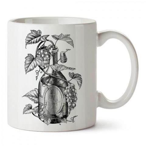 Asma Üzüm Şarap Şişesi tasarım baskılı kupa bardak (mug bardak). Şarap severlere özel hediyeler. Şarap sevenlere hediye. Şarap tasarım hediye kupa bardak.