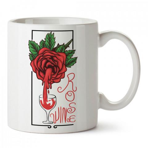 Rose Şarap tasarım baskılı kupa bardak (mug bardak). Şarap severlere özel hediyeler. Şarap sevenlere hediye. Şarap tasarım hediye kupa bardak.