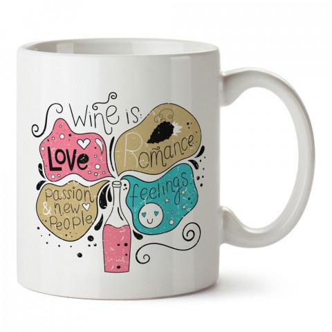 Şarap Demek tasarım baskılı kupa bardak (mug bardak). Şarap severlere özel hediyeler. Şarap sevenlere hediye. Şarap tasarım hediye kupa bardak.