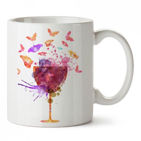 Şarap Kadehi Ve Kelebekler tasarım baskılı kupa bardak (mug bardak). Şarap severlere özel hediyeler. Şarap sevenlere hediye. Şarap tasarım hediye kupa bardak.