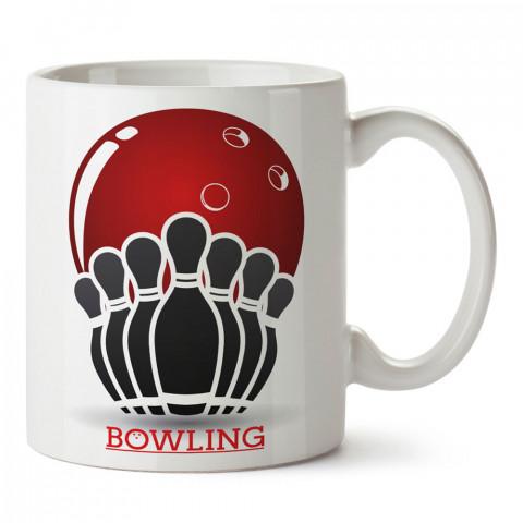 Bowling Topu Ve Labutlar tasarım baskılı kupa bardak (mug bardak). Bowling tutkunlarına özel hediyeler. Bowling sevenlere hediye. Bowlingciye hediye kupa bardak.