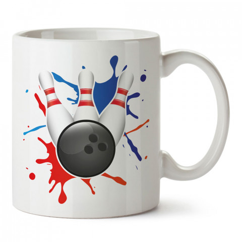 Boya Efektli Bowling tasarım baskılı kupa bardak (mug bardak). Bowling tutkunlarına özel hediyeler. Bowling sevenlere hediye. Bowlingciye hediye kupa bardak.