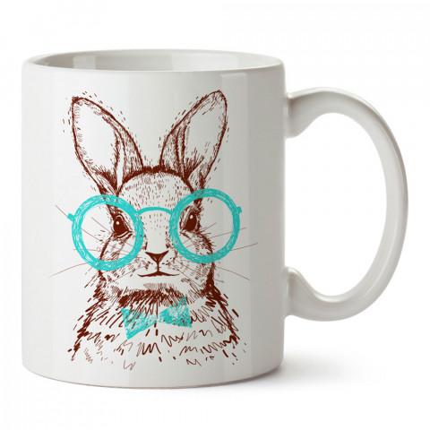Gözlüklü Tavşan Hipster tasarım baskılı kupa bardak (mug). Hipster hediyelik kupa bardak. Hipstera tasarım hediye. Hipster tarz tasarımlar. Hipster hediye çeşitleri.