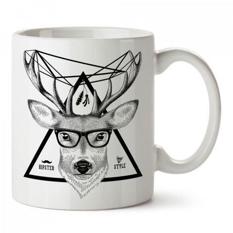 Hipster Geyik tasarım baskılı kupa bardak (mug). Hipster hediyelik kupa bardak. Hipstera tasarım hediye. Hipster tarz tasarımlar. Hipster hediye çeşitleri.
