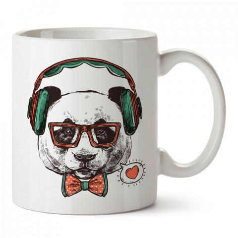 Kulaklıklı Panda Hipster tasarım baskılı kupa bardak (mug). Hipster hediyelik kupa bardak. Hipstera tasarım hediye. Hipster tarz tasarımlar. Hipster hediye çeşitleri.