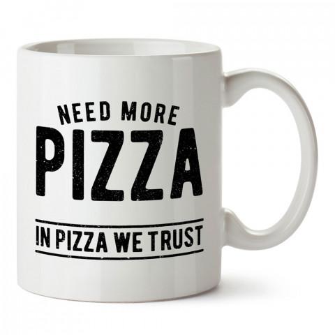 In Pizza We Trust tasarım baskılı kupa bardak (mug). Yemek yemeyi sevene hediye. Donut sevene donut desenli hediyelik ürünler. Donut desenli kupa bardak.