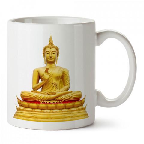 Buda Heykeli Yoga tasarım baskılı kupa bardak (mug bardak). Yoga tutkunlarına özel hediyeler. Yogacılara hediyelik kupa. Yoga ürünleri. Yoga yapanlara hediye seçenekleri.