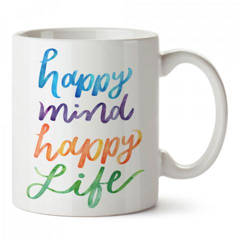 Happy Mind Happy Life Renkli baskılı kupa bardak (mug). Yoga tutkunlarına özel hediyeler. Yogacılara hediyelik kupa. Yoga ürünleri. Yoga yapanlara hediye seçenekleri.