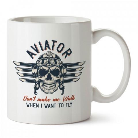 Beni Yürümeye Zorlama Pilot tasarım baskılı kupa bardak (mug). Havacılara hediye kupa. Pilota, havacıya, uçuş sevene, hava sporları tutkunlarına hediye kupa bardak.