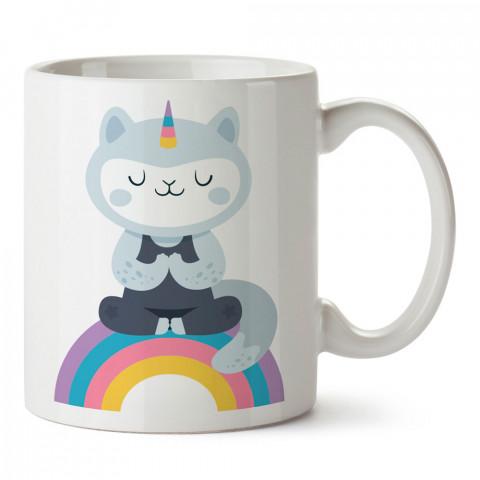 Unicorn Kedi Gökkuşağı Yoga baskılı kupa bardak (mug). Yoga tutkunlarına özel hediyeler. Yogacılara hediyelik kupa. Yoga ürünleri. Yoga yapanlara hediye seçenekleri.