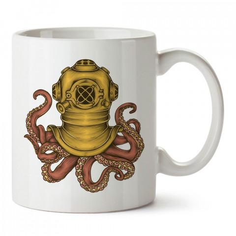 Dalgıç Ahtapot tasarım baskılı porselen kupa bardak (mug). Dalgıça hediye kupa bardak. Dalış sporu yapanlara, scuba diving yapana hediye kupa bardak.