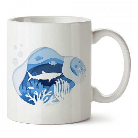 Denizin Altı tasarım baskılı porselen kupa bardak (mug). Dalgıça hediye kupa bardak. Dalış sporu yapanlara, scuba diving yapana hediye kupa bardak.