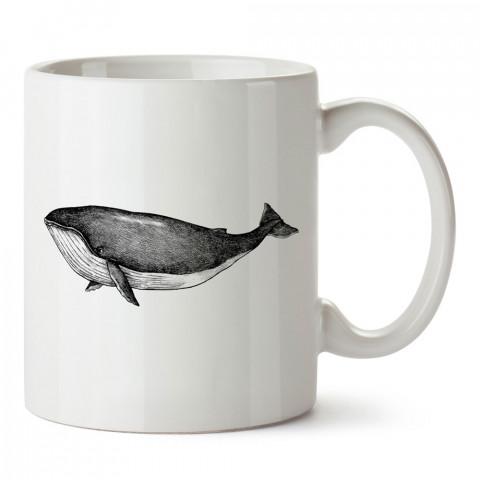 Karakalem Balina tasarım baskılı porselen kupa bardak (mug). Dalgıça hediye kupa bardak. Dalış sporu yapanlara, scuba diving yapana hediye kupa bardak.