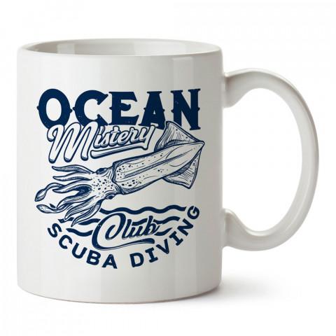 Okyanusun Gizemi tasarım baskılı porselen kupa bardak (mug). Dalgıça hediye kupa bardak. Dalış sporu yapanlara, scuba diving yapana hediye kupa bardak.