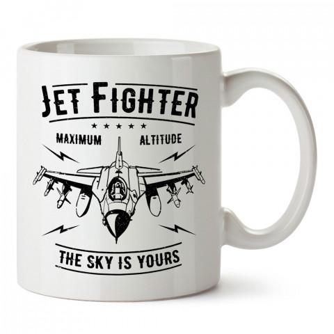 Gökyüzü Senindir tasarım baskılı kupa bardak (mug). Havacılara hediye kupa. Pilota, havacıya, uçuş sevene, hava sporları tutkunlarına hediye kupa bardak.