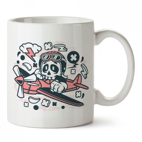 Kuru Kafa Minimal Uçak tasarım baskılı kupa bardak (mug). Havacılara hediye kupa. Pilota, havacıya, uçuş sevene, hava sporları tutkunlarına hediye kupa bardak.