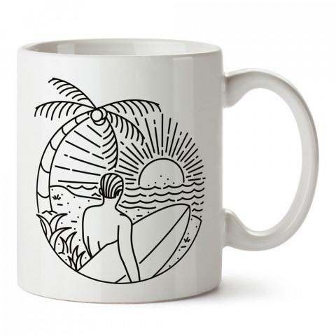 Çizgisel Yaz Tatili Sörf tasarım baskılı kupa bardak (mug). Tatilcilere, tatil sevenlere tasarım hediye. Seyahat sevene hediye. Mevsimlere özel tasarım hediyelik ürünler.