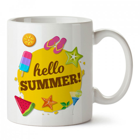 Hello Summer Tatil tasarım baskılı kupa bardak (mug). Tatilcilere, tatil sevenlere tasarım hediye. Seyahat sevene hediye. Mevsimlere özel tasarım hediyelik ürünler.