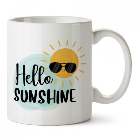 Hello Sunshine Gözlüklü Güneş baskılı kupa bardak (mug). Tatilcilere, tatil sevenlere tasarım hediye. Seyahat sevene hediye. Mevsimlere özel tasarım hediyelik ürünler.