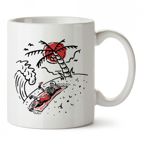İskeletor Yaz Tatili tasarım baskılı kupa bardak (mug). Tatilcilere, tatil sevenlere tasarım hediye. Seyahat sevene hediye. Mevsimlere özel tasarım hediyelik ürünler.