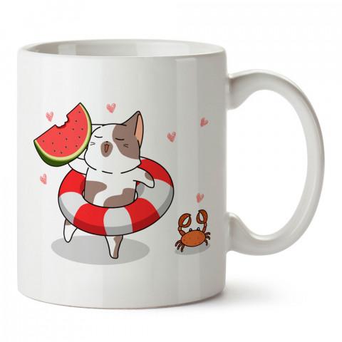 Karpuz Kedi Ve Yaz Tatili tasarım baskılı kupa bardak (mug). Tatilcilere, tatil sevenlere tasarım hediye. Seyahat sevene hediye. Mevsimlere özel tasarım hediyelik ürünler.