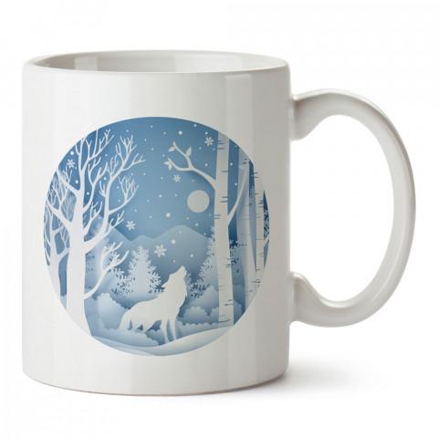 Kış Mevsimi Bozkurt tasarım baskılı kupa bardak (mug). Tatilcilere, tatil sevenlere tasarım hediye. Seyahat sevene hediye. Mevsimlere özel tasarım hediyelik ürünler.