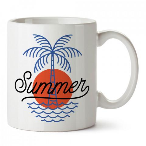 Minimal Yaz Ve Palmiye tasarım baskılı kupa bardak (mug). Tatilcilere, tatil sevenlere tasarım hediye. Seyahat sevene hediye. Mevsimlere özel tasarım hediyelik ürünler.