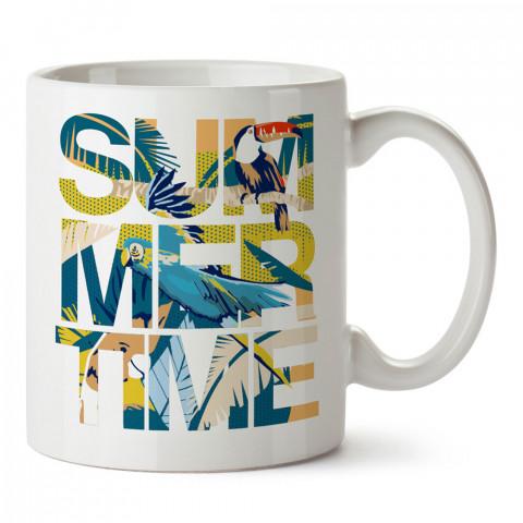 Otantik Kuşlar Summer Time baskılı kupa bardak (mug). Tatilcilere, tatil sevenlere tasarım hediye. Seyahat sevene hediye. Mevsimlere özel tasarım hediyelik ürünler.