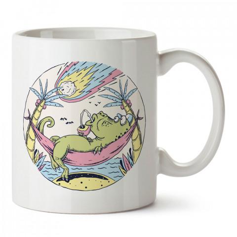 Timsah Yaz Tatili tasarım baskılı kupa bardak (mug). Tatilcilere, tatil sevenlere tasarım hediye. Seyahat sevene hediye. Mevsimlere özel tasarım hediyelik ürünler.