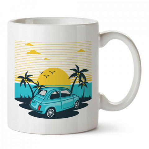 Yaz Manzarası tasarım baskılı kupa bardak (mug). Tatilcilere, tatil sevenlere tasarım hediye. Seyahat sevene hediye. Mevsimlere özel tasarım hediyelik ürünler.