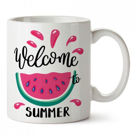 Welcome Summer tasarım baskılı kupa bardak (mug). Tatilcilere, tatil sevenlere tasarım hediye. Seyahat sevene hediye. Mevsimlere özel tasarım hediyelik ürünler.