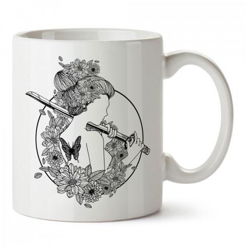 Çiçekli Kunoichi Ninja Dövüş Sanatları baskılı porselen kupa (mug bardak). Dövüşçülere hediye tasarım kupa bardak. Dövüş tutkunlarına hediye. Dövüşçüye en güzel hediye.