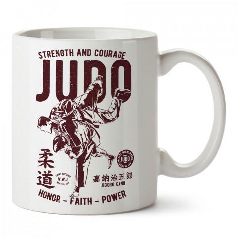 Judo Onur İnanç Güç tasarım baskılı porselen kupa bardak (mug bardak). Dövüşçülere hediye tasarım kupa bardak. Dövüş tutkunlarına hediye. Dövüşçüye en güzel hediye.