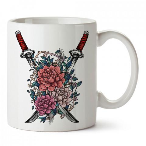 Samuray Kılıçları Ve Çiçekler tasarım baskılı porselen kupa bardak (mug bardak). Dövüşçülere hediye tasarım kupa. Dövüş tutkunlarına hediye. Dövüşçüye en güzel hediye.