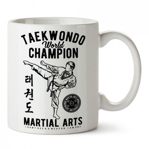 Silaha İhityacım Yok Ben Tekvandocuyum baskılı porselen kupa bardak (mug bardak). Dövüşçülere hediye tasarım kupa. Dövüş tutkunlarına hediye. Dövüşçüye en güzel hediye.