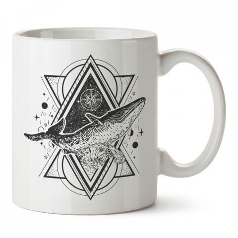 Geometrik Galaksi Balina Dövme tasarım baskılı kupa bardak modelleri (mug). Dövmecilere ve dövme severlere en güzel hediye. Tattoo sevene özel hediye kahve kupası.