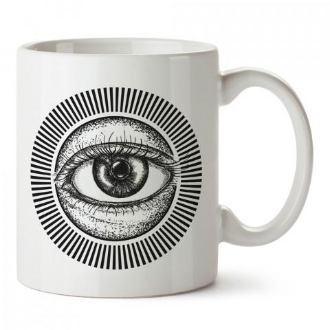 Kara Kalem Göz Tattoo Dövme tasarım baskılı porselen kupa bardak modelleri (mug). Dövmecilere ve dövme severlere en güzel hediye. Tattoo sevene özel hediye kahve kupası.
