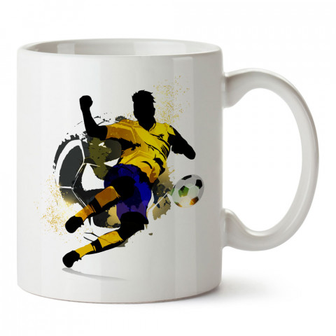 Brazil Futbolcu Siluet tasarım baskılı kupa bardak (mug). Futbolculara ve futbol severlere hediyelik kupa. Futbol sevene en güzel hediye. Futbol konulu tasarımlar.
