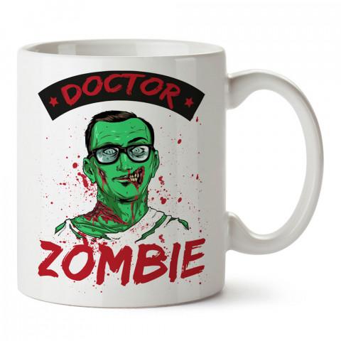 Doctor Zombie tasarım baskılı porselen kupa bardak modelleri (mug bardak). Zombili hediyelik kupa bardak. Zombi karakterli en güzel hediyeler. Zombili tasarımlar.