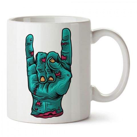 Rock İşareti Zombi El tasarım baskılı porselen kupa bardak modelleri (mug bardak). Zombili hediyelik kupa bardak. Zombi karakterli en güzel hediyeler. Zombili tasarımlar.