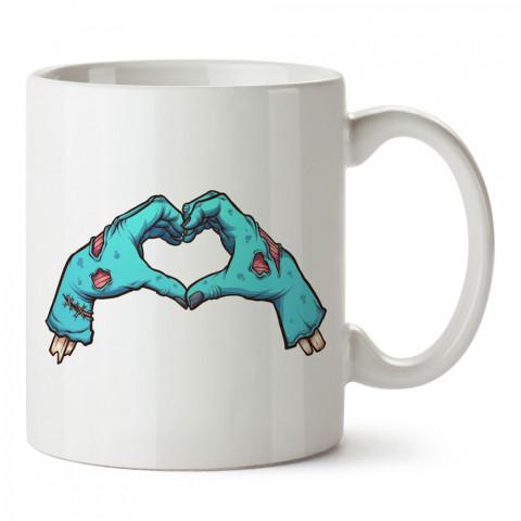 Zombi Aşk Kalp tasarım baskılı porselen kupa bardak modelleri (mug bardak). Zombili hediyelik kupa bardak. Zombi karakterli en güzel hediyeler. Zombili tasarımlar.