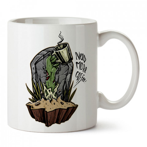 Zombi Daha Fazla Kahve tasarım porselen kupa bardak modelleri (mug bardak). Zombili hediyelik kupa bardak. Zombi karakterli en güzel hediyeler. Zombili tasarımlar.