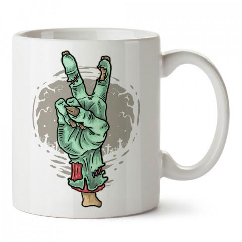 Zombi Peace El İşareti tasarım porselen kupa bardak modelleri (mug bardak). Zombili hediyelik kupa bardak. Zombi karakterli en güzel hediyeler. Zombili tasarımlar.
