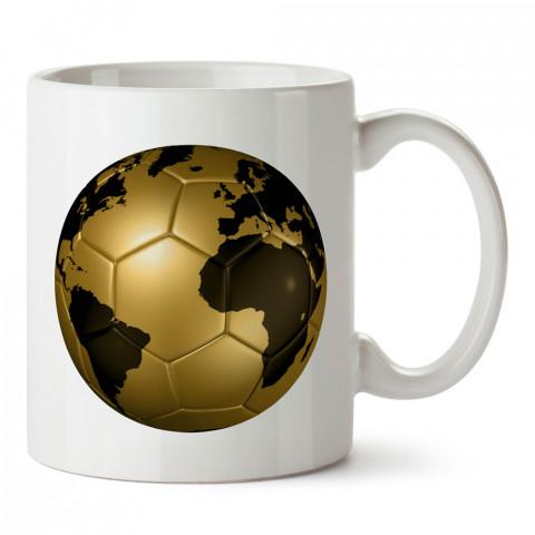 Dünya Desenli Altın Futbol Topu tasarım kupa bardak (mug). Futbolculara ve futbol severlere hediyelik kupa. Futbol sevene en güzel hediye. Futbol konulu tasarımlar.